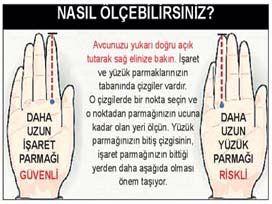 Parmak uzunluğu : İşaret ve yüzük parmakları aynı uzunlukta olan kişilerin kalp krizi geçirme riski daha fazla.