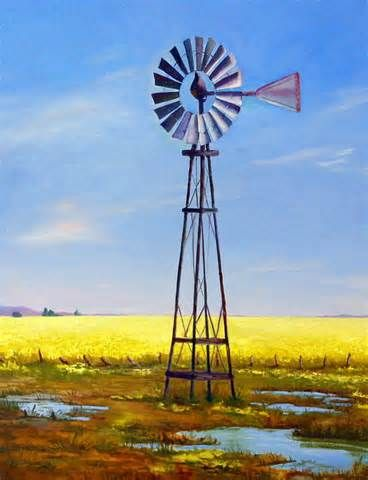 Western Windmill Painting by Dorothy Nalls