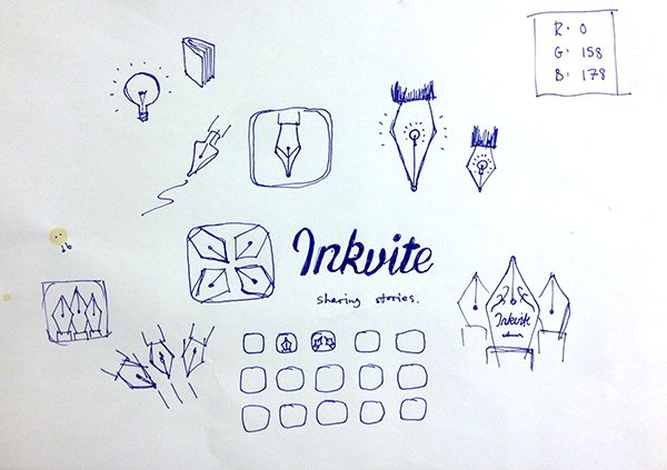 This sketch was created during the design for the Inkvite 2.0 icon. It's fascinating to see how the final design came about!