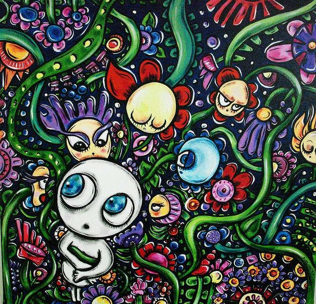 """""""Las flores del mal""""  acrylic on canvas,   060 x 060cm"""