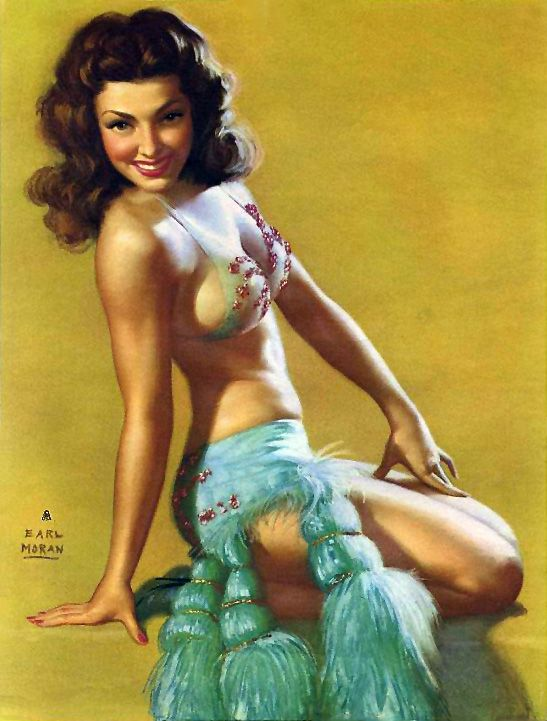 "Earl Moran - ""A Model Girl"" A beautiful illustration with Marilyn Monroe as his model."
