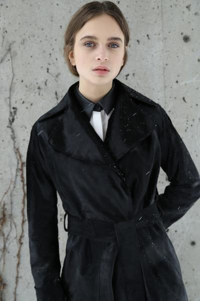 KOJA | Women's Black Calfskin Leather Long Trench Coat | Designed in NYC | Made in Germany | Free Shipping & Returns