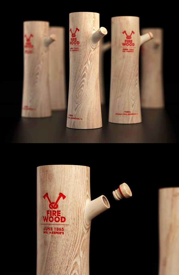 Fire wood vodka - belle bouteille original de vodka j'aime beaucoup le fait que c'est fait en bois.