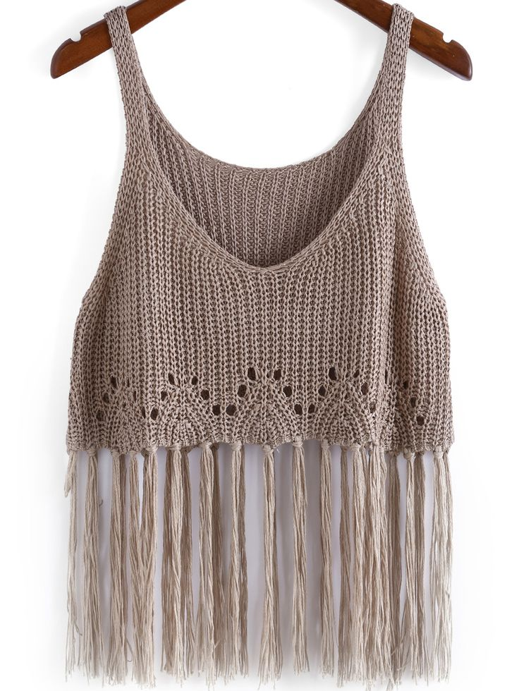 Boho Knit Tassel Cami Top in Camel -SheIn
