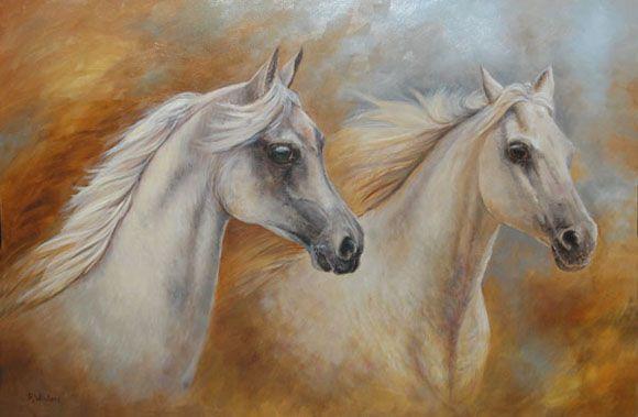 Arabische paarden - olieverfschilderij