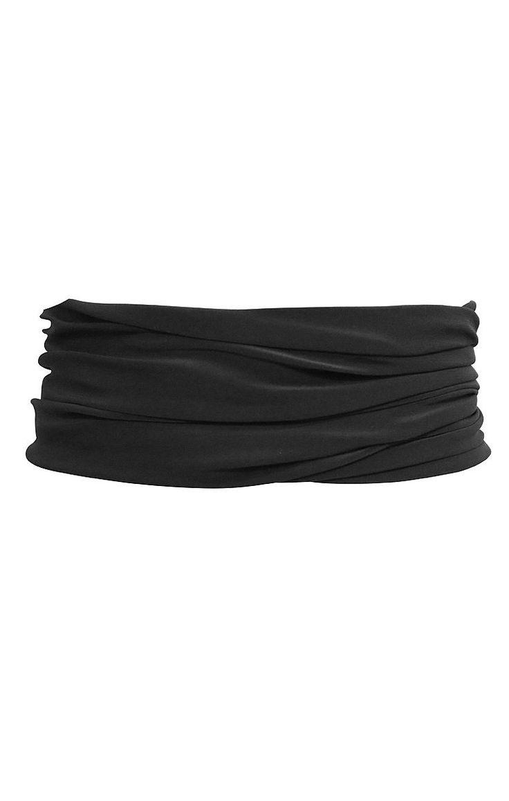 TUBE BELT NO BUCKLE STRETCH JERSEY BELT IN BLACK