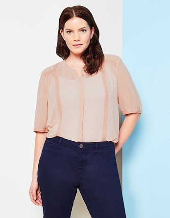 Womens pink beige juna rose high neck lace trim sheer shirt from Lipsy - £35 at ClothingByColour.com