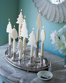 Candles adorned with beeswax trees create an enchanting winter landscape indoors. Would be cute for other holidays as well...hearts, shamrocks, bunnies, etc.