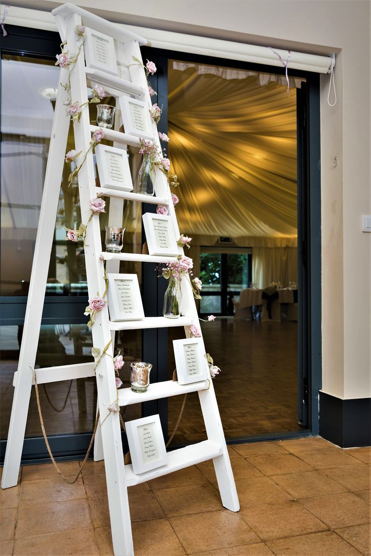 6ft Cream chalk ladder table plan, available to hire.
