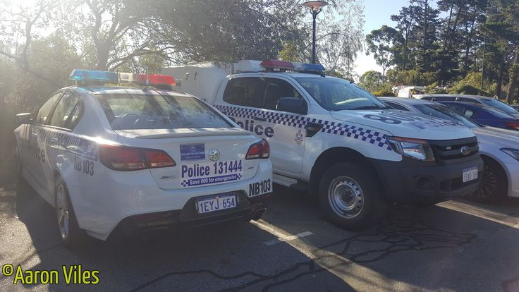 https://flic.kr/p/23M4P6j | Western Australia Police | Holden Commodore SV6 Sedan NB103 & Ford Ranger Paddy Wagon NM108 General Duties police vehicles. Kings Park, WA