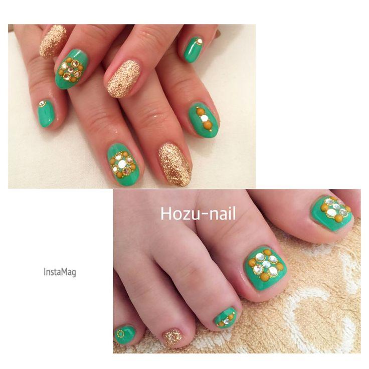 ハンドとお揃いのフットネイル✨  #ネイル #ジェルネイル #nail #nailart #フットネイル #footnail #おそろネイル #グリーンネイルデザイン #モロッコ風 #夏ネイル #大人可愛い #上品ネイル #hozunail