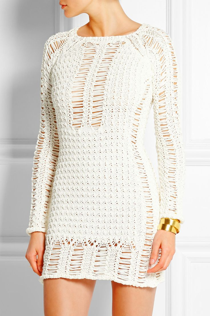 Balmain | Crocheted cotton mini dress | NET-A-PORTER.COM from NET-A-PORTER