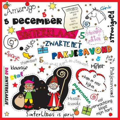 Sinterklaaskaart - leuk voor tekenles
