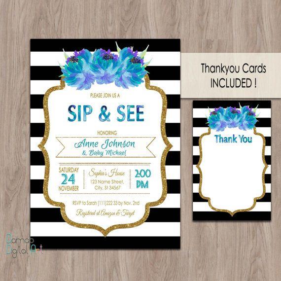 Sip and See invitation sip and see invitation boy by DamabDigital