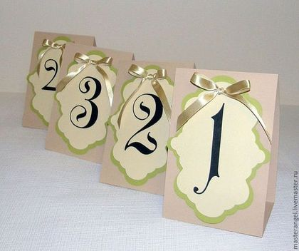 Купить Номера столов - оливковый, айвори, бежевый, номера столов, номер, рассадка гостей