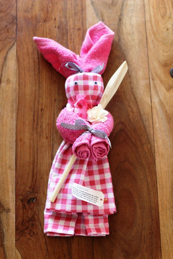 Kitchen Tea Towel Bunny by Smallgirlsinck on Etsy, £11.00