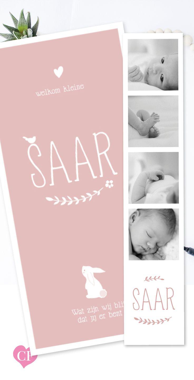Geboortekaartje meisje   pink   roze   konijntje   met lieve foto's   hartje   oud roze   lief   fotostrip  