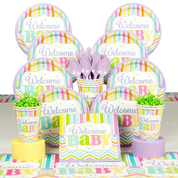 Check Out Welcome Baby Brights Baby Shower Deluxe Tableware Kit (Serves    Discount Supplies And Decorations From Wholesale Party Supplies