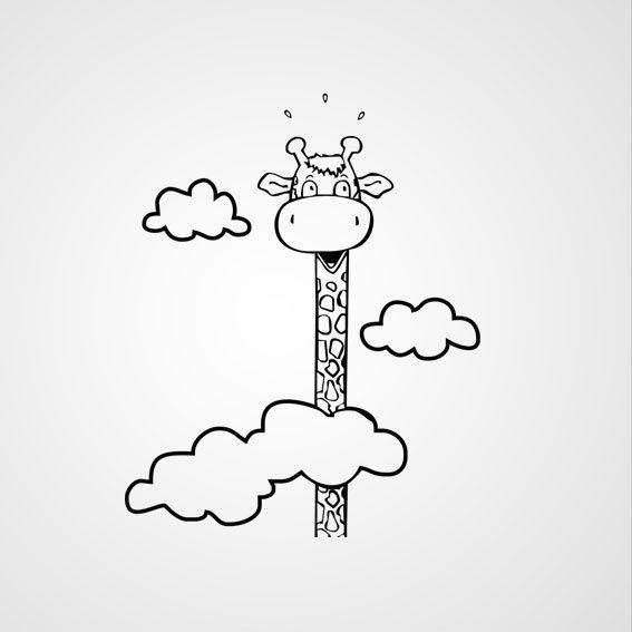 Giraffe met wolken