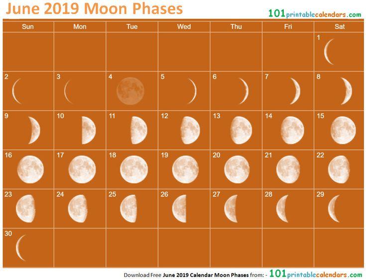 june 2019 calendar moon phases