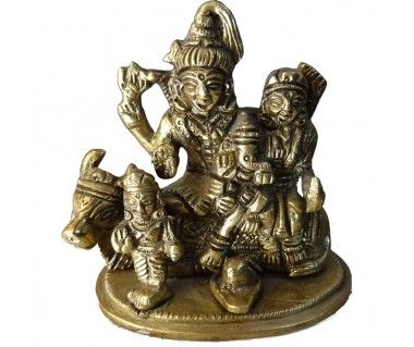 brass idol of lord shiva and family