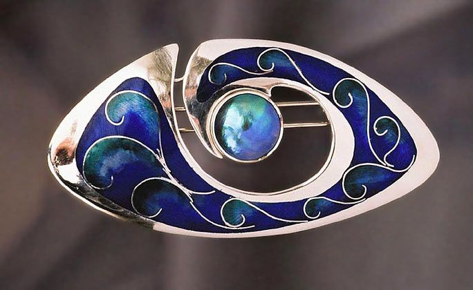 Brooch | Tony Williams.  'The Eye of the Storm'.  Silver, Enamels & Paua Pearl
