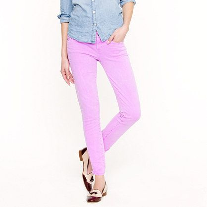 Ankle stretch toothpick jean in garment-dyed twill. Love it in desert sunset and golden sunflower