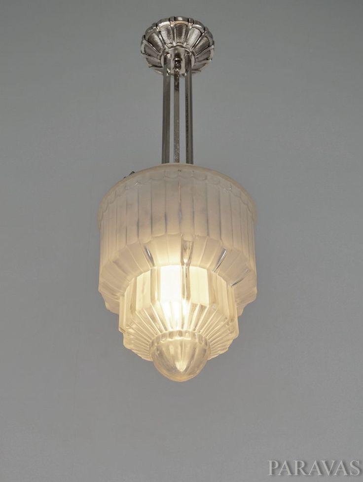 daum lorrain french art deco pendant light chandelier lustre suspension