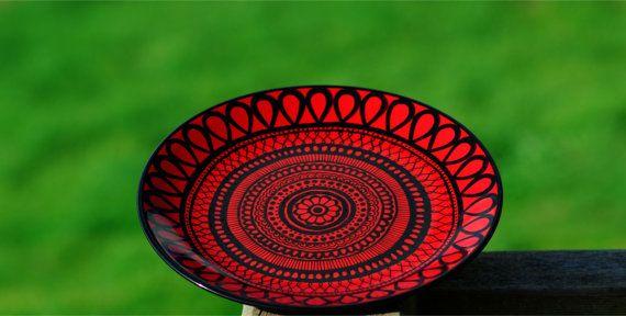Red Plate Mandala Original Ceramic Painting of by GoldenAcaciaArt, $30.00