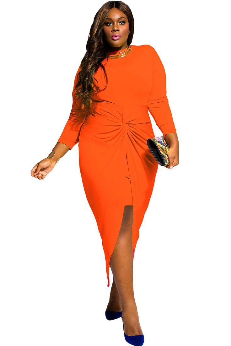 Fashion Plus Size Dress, Knotted With A Slit, Mustard, Orange and Aqua Colors