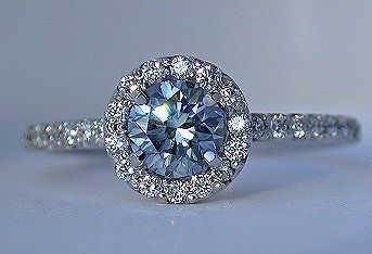 This is a beautiful engagement ring. aquamarine in the middle, diamonds surrounding. oh my.