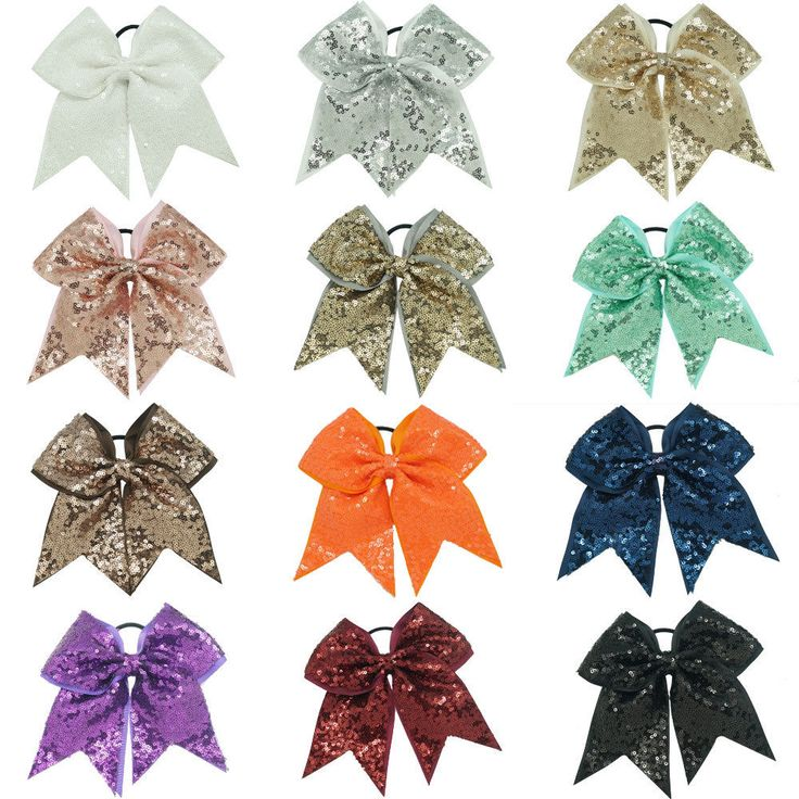 7 inch Large Sequin Large Popular Cheerleading Cheer Bow with Elastic Band | eBay