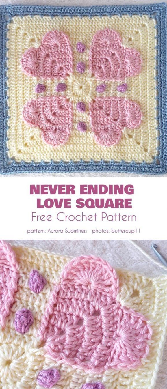 Wear Your Heart On Your Square Free Crochet Patterns Crochet Stitches Tutorial Crochet Patterns Crochet Quilt