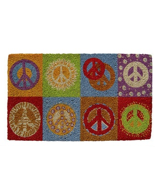 Red & Purple Peace Handwoven Doormat: Peace Handwoven, Handwoven Doormats, Hands Woven Doormats, Handwoven Doormaton, Peace Signs, Signs Doormats, Peace Doormats, Doormats All Natural, Entryway Peace