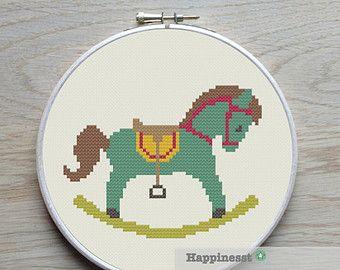 cross stitch pattern rocking horse, modern cross stitch, PDF, ** instant download**