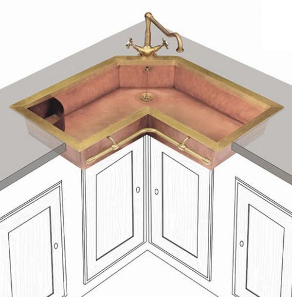Copper Corner Sink : Corner Copper Sink with Old World Faucet For the home Pinterest