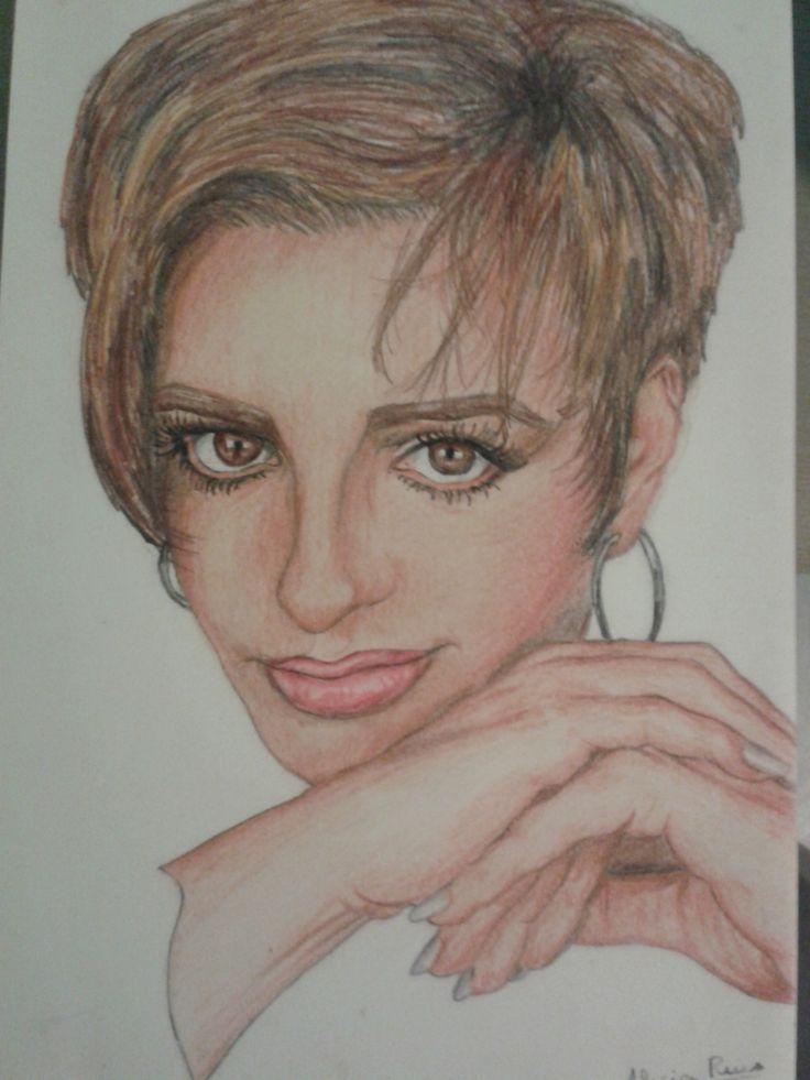 Retrato Liza Minnelli a lapicero de color. Realizado por Alicia Ruiz