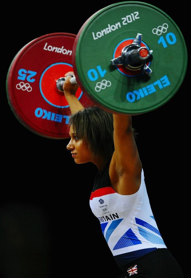 LONDON - JULY 30: Zoe Smith of Great Britain competes in the Women's 58kg Weightlifting on Day 3 of the London 2012 Olympic Games at ExCeL on July 30, 2012 in London, (Photo by Laurence Griffiths/Getty Images)