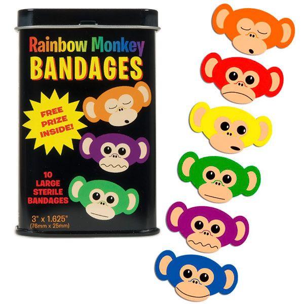 Rainbow Monkey Adhesive Bandages $4.99