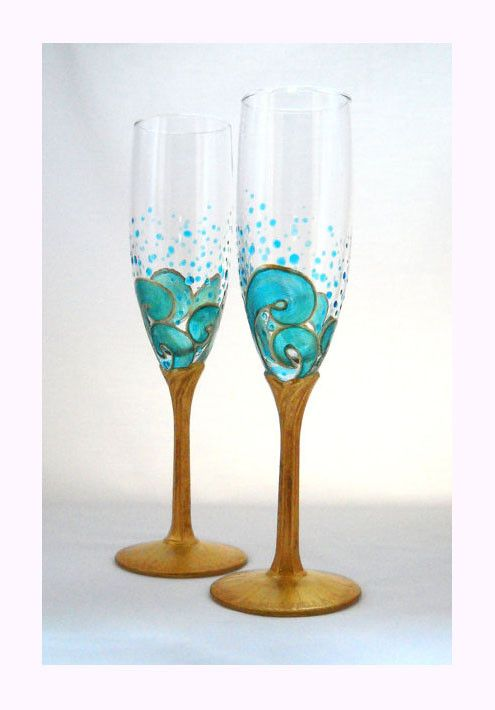 Ocean Waves Beach Wedding Flutes with Gold Stems, Hand Painted Glassware