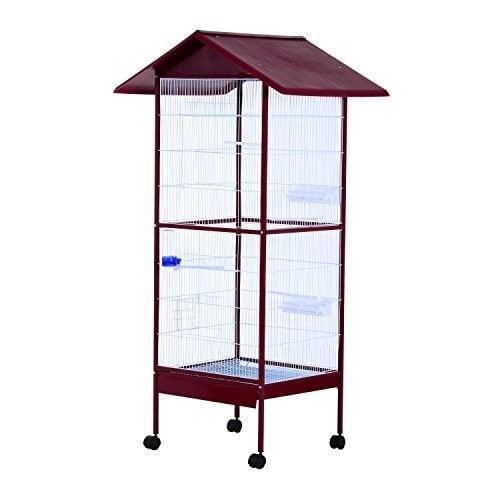 Large Parrot Cage Bird Stand Cockatiel Canary Wheel Breeding Mobile House Aviary