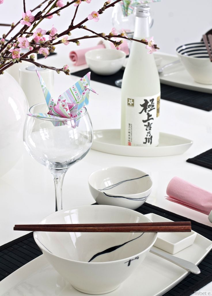 Japanese table setting with Amfora tableware... I like the paper crane inside the glass... looks cute.