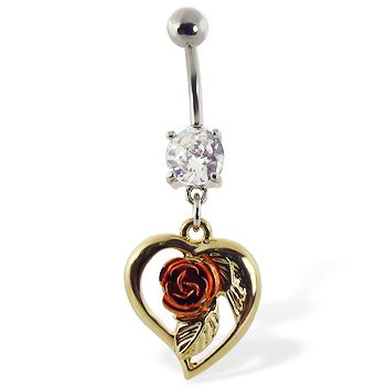 Navel ring with dangling yellow heart with pink rose   Belly Button Rings