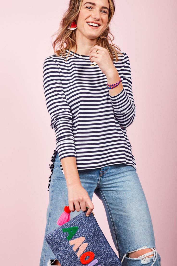 The Ruffle Pullover – Stripe | Stella & Dot