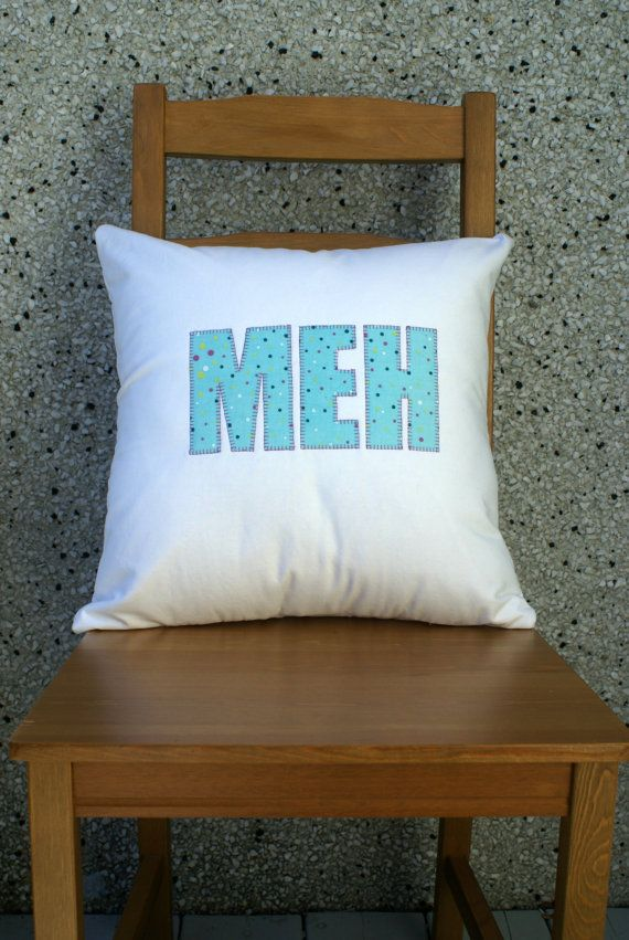 'Meh' Cushion Cover Appliqued Typography, Large with Zipper