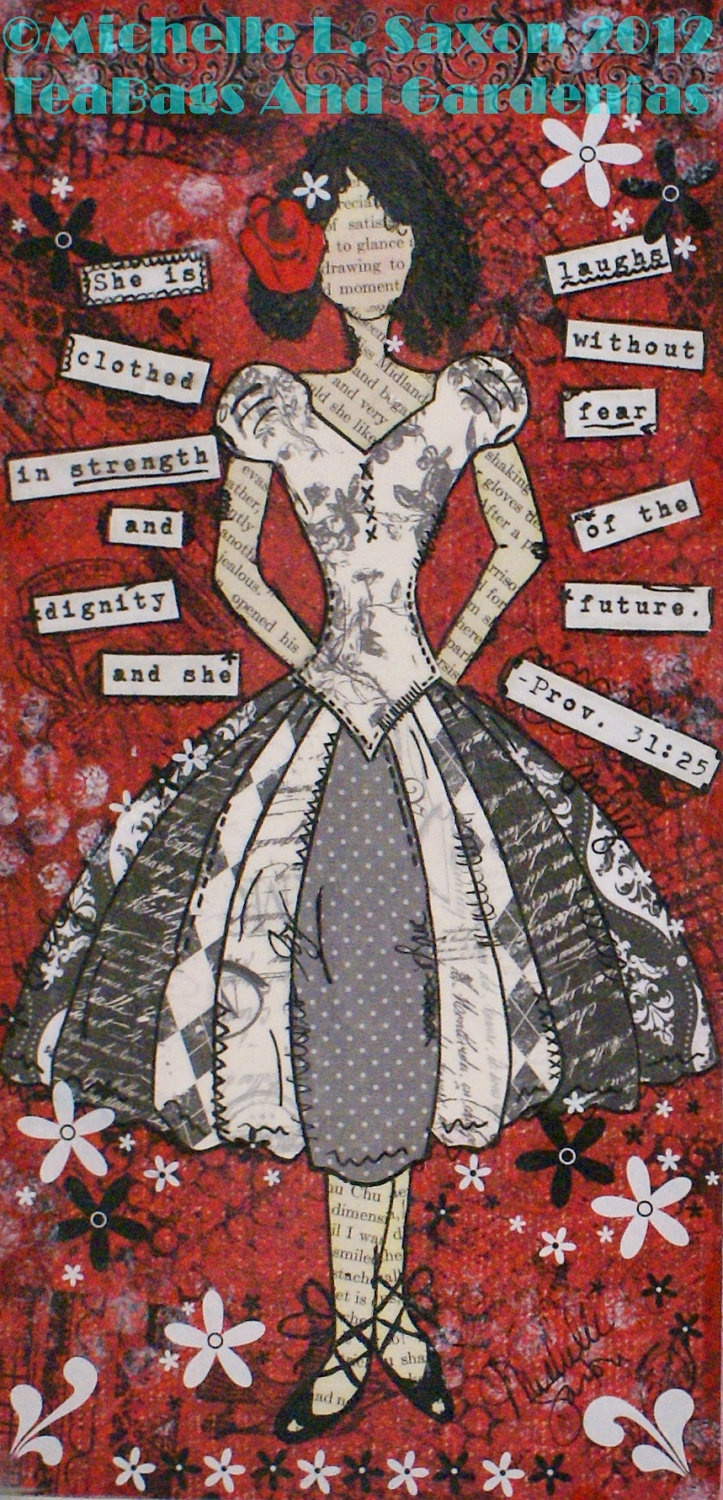 "Cool skirt on her dress. Mixed Media ""She is clothed in strength"" Girl Art PRINT 6x12. $10.50, via Etsy."