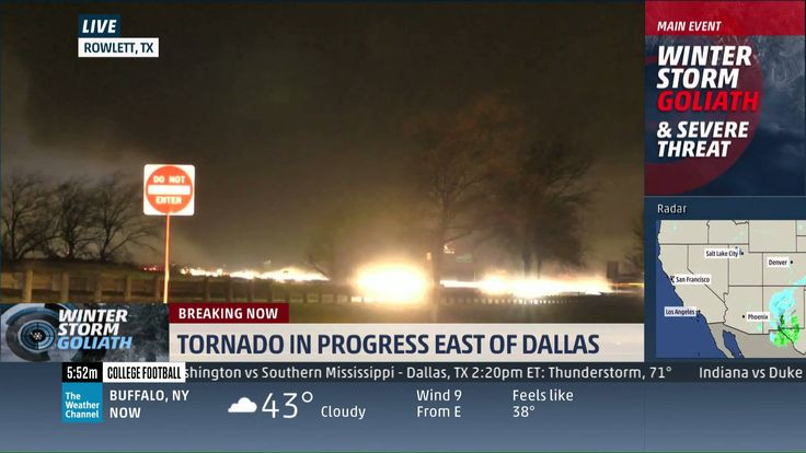Rowlett, TX Tornado Live on The Weather Channel 12-26-15