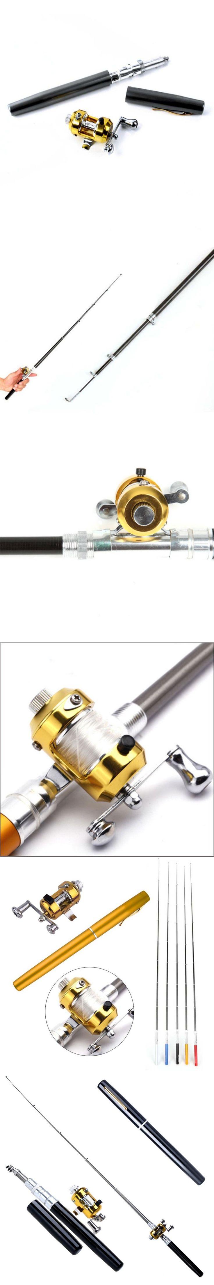 Portable Pocket Telescopic Fishing Pole Pen Shape Foldable Fishing Rod With Reel Wheel