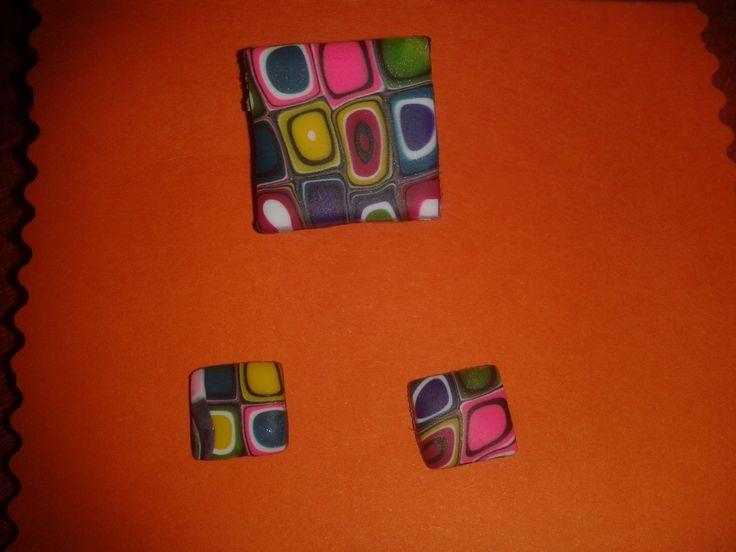 Conjunto anillo-pendientes colorines 3