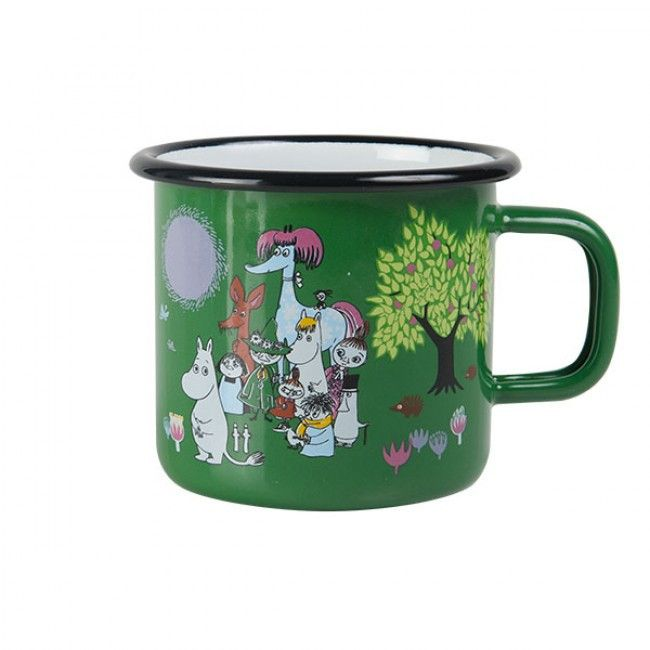 Moomin Garden enamel mug holds 3,7 dl. Green mug feature several characters from the Moominvalley. Muurla combines design with durability in this retro Moomin enamel mug. Dishwasher safe, oven safe, freezer safe.